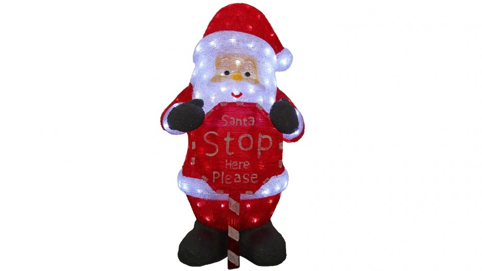 Lexi Lighting 80cm Santa with Santa Stop Here Sign