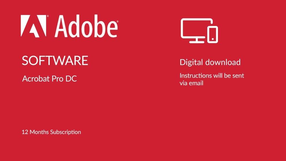 Adobe Acrobat Pro DC Digital Download - 12 Months Subscription