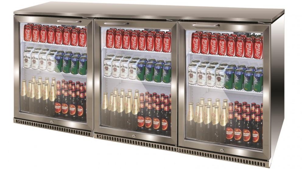 Airflo 330L Triple Door Bar Cooler - Stainless Steel