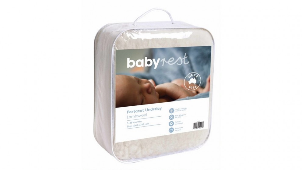 BabyRest Lambswool Porta Cot Underlay with Strap Fitting