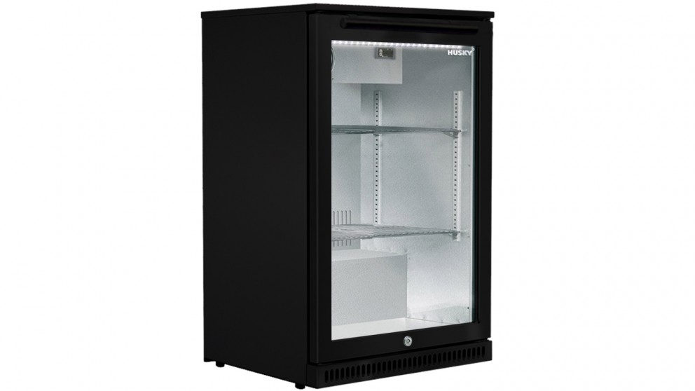 Husky 118L Single Glass Door Alfresco Bar Fridge - Black