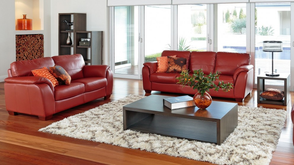 Buy alyssa 2 piece leather lounge suite harvey norman au for Furniture 3 piece suites