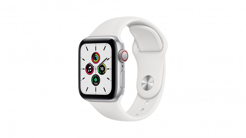 Apple Watch SE 44mm Silver Aluminium Case with White Sports Band - GPS + Cellular