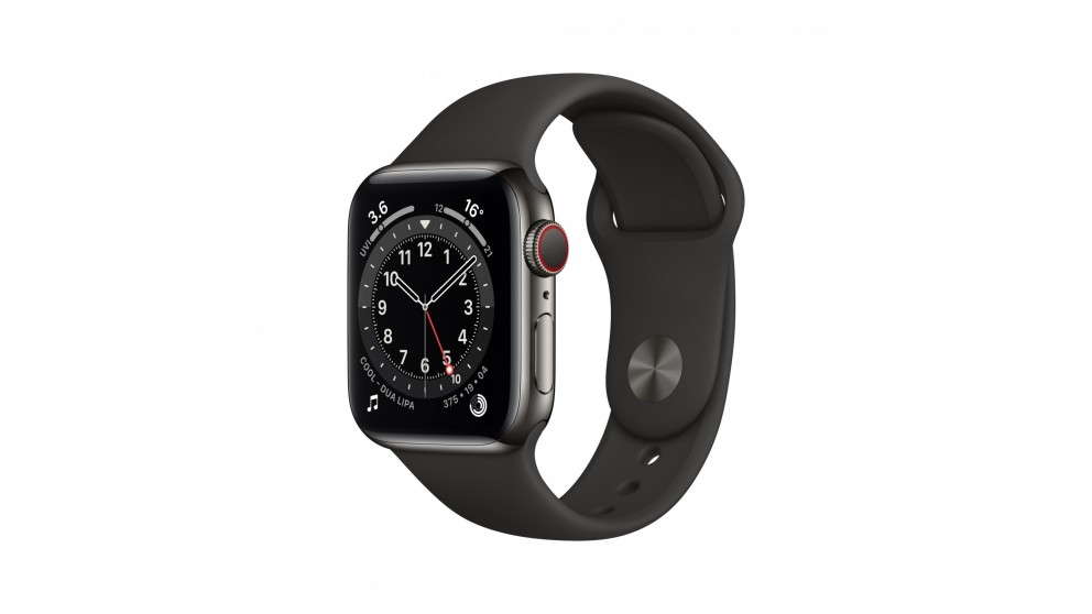 Apple Watch Series 6 40mm Graphite Stainless Steel Case with Black Sports Band - GPS + Cellular