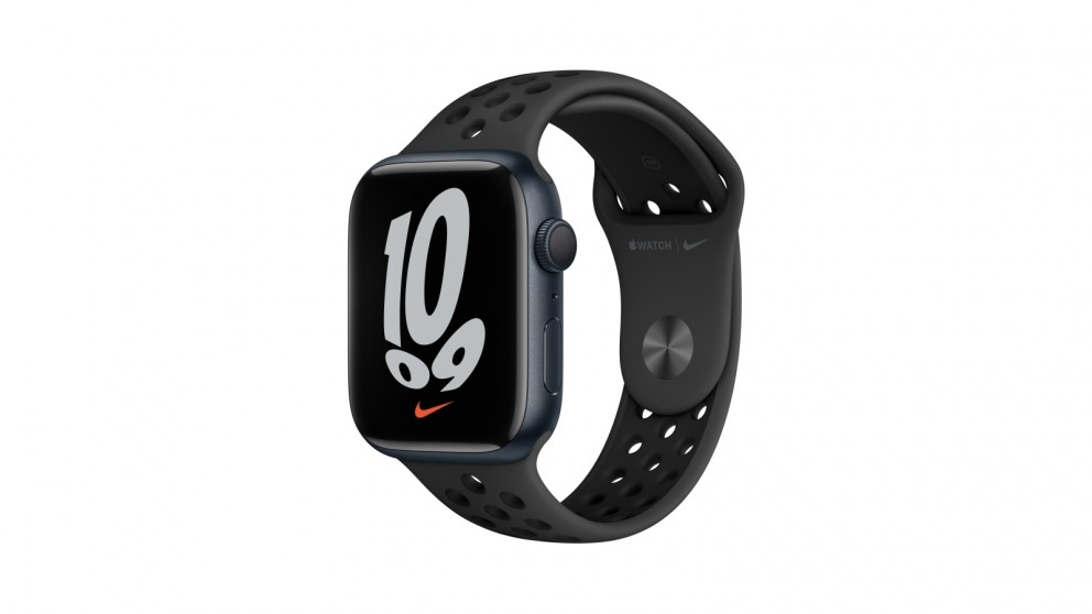 Apple Watch Nike Series 7 45mm Midnight Aluminium Case with Pure Anthracite/Black Nike Sport Band - GPS