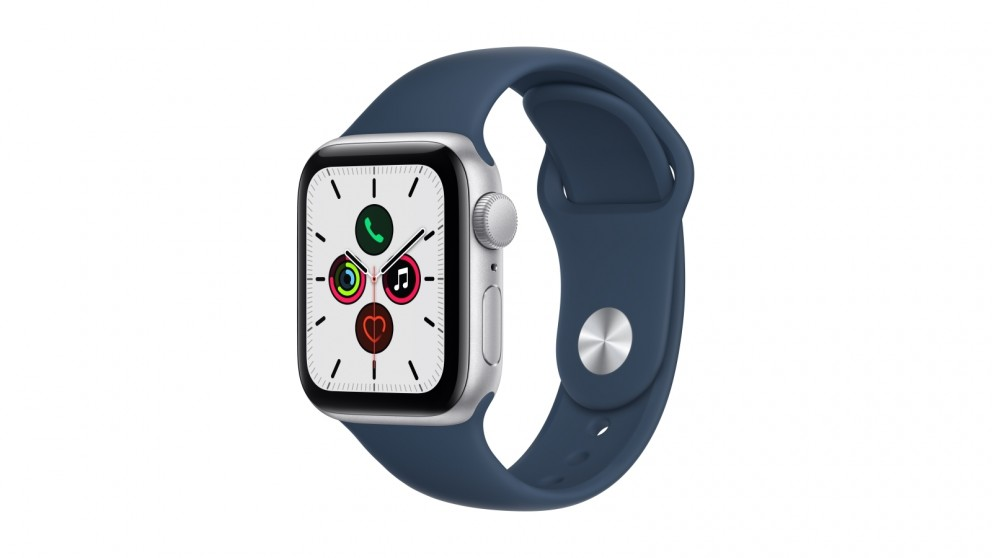 Apple Watch SE 40mm Silver Aluminium Case with Abyss Blue Sport Band - GPS