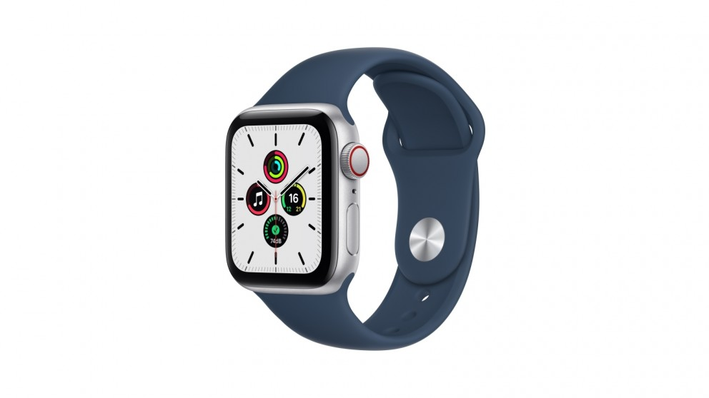 Apple Watch SE 40mm Silver Aluminium Case with Abyss Blue Sport Band - GPS + Cellular