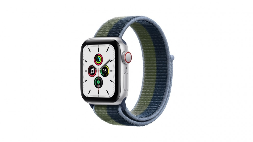 Apple Watch SE 40mm Silver Aluminium Case with Abyss Blue/Moss Green Sport Loop - GPS + Cellular