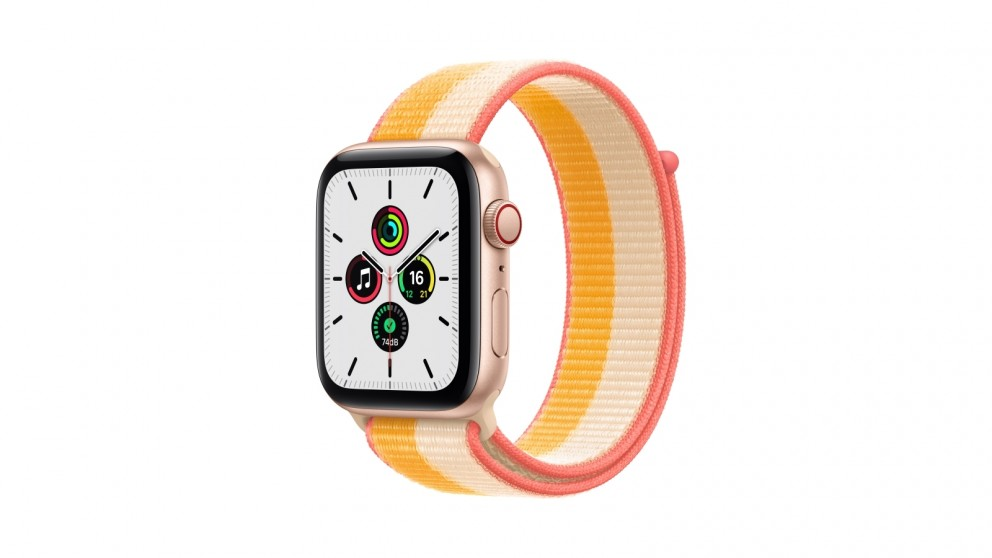 Apple Watch SE 44mm Gold Aluminium Case with Maize/White Sport Loop - GPS + Cellular