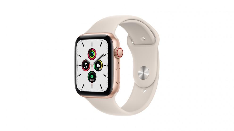 Apple Watch SE 44mm Gold Aluminium Case with Starlight Sport Band - GPS + Cellular