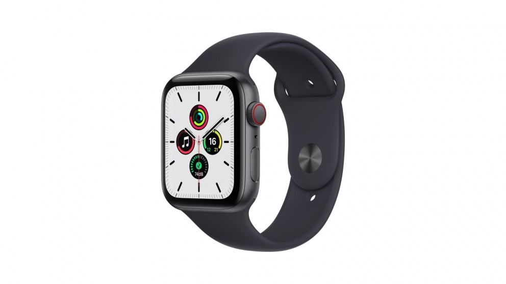 Apple Watch SE 44mm Space Grey Aluminium Case with Midnight Sport Band - GPS + Cellular