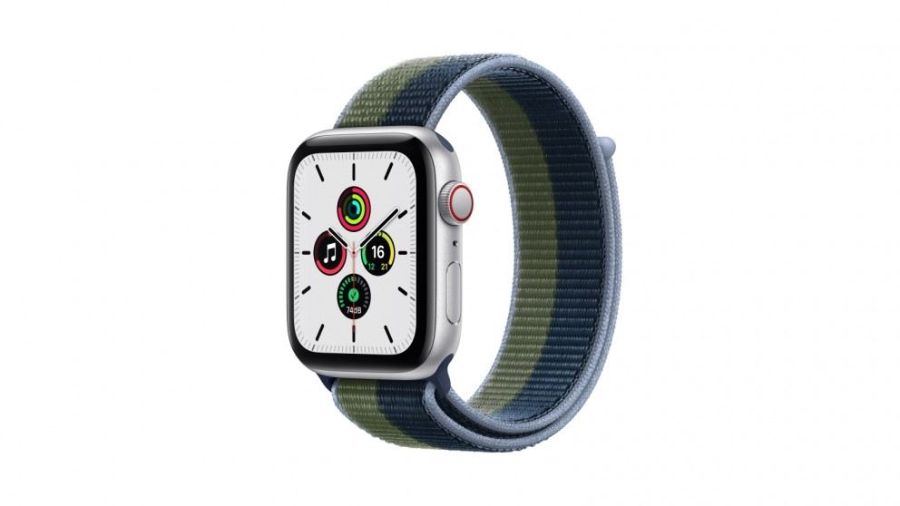Apple Watch SE 44mm Silver Aluminium Case with Abyss Blue/Moss Green Sport Loop - GPS + Cellular