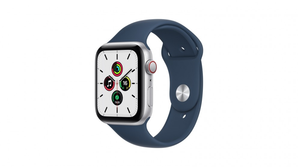 Apple Watch SE 44mm Silver Aluminium Case with Abyss Blue Sport Band - GPS + Cellular