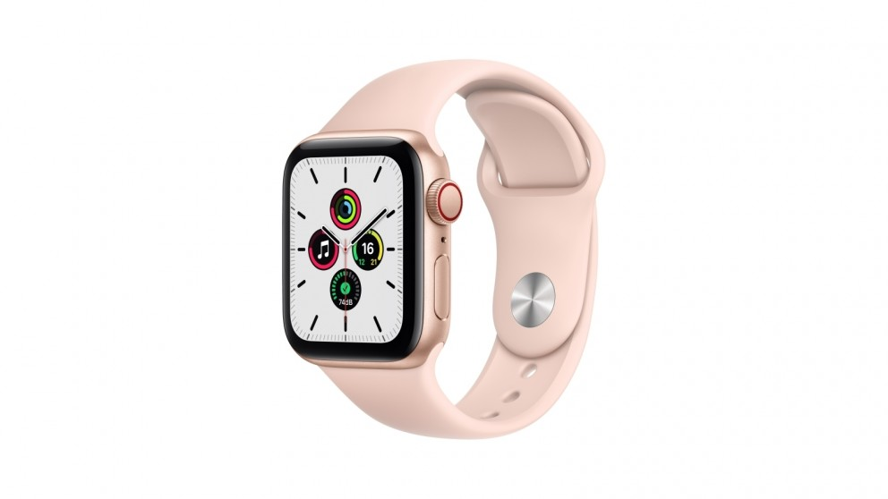Apple Watch SE 40mm Gold Aluminium Case with Pink Sports Band - GPS + Cellular