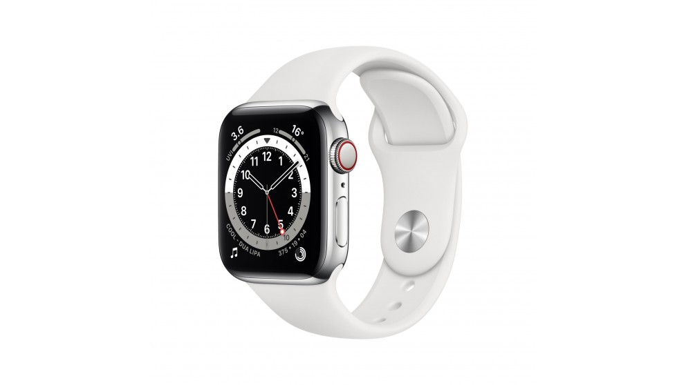 Apple Watch Series 6 44mm Silver Stainless Steel Case with White Sports Band - GPS + Cellular