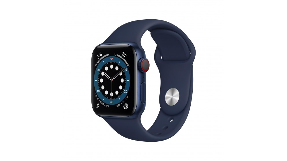 Apple Watch Series 6 44mm Blue Aluminium Case with Navy Sports Band - GPS + Cellular