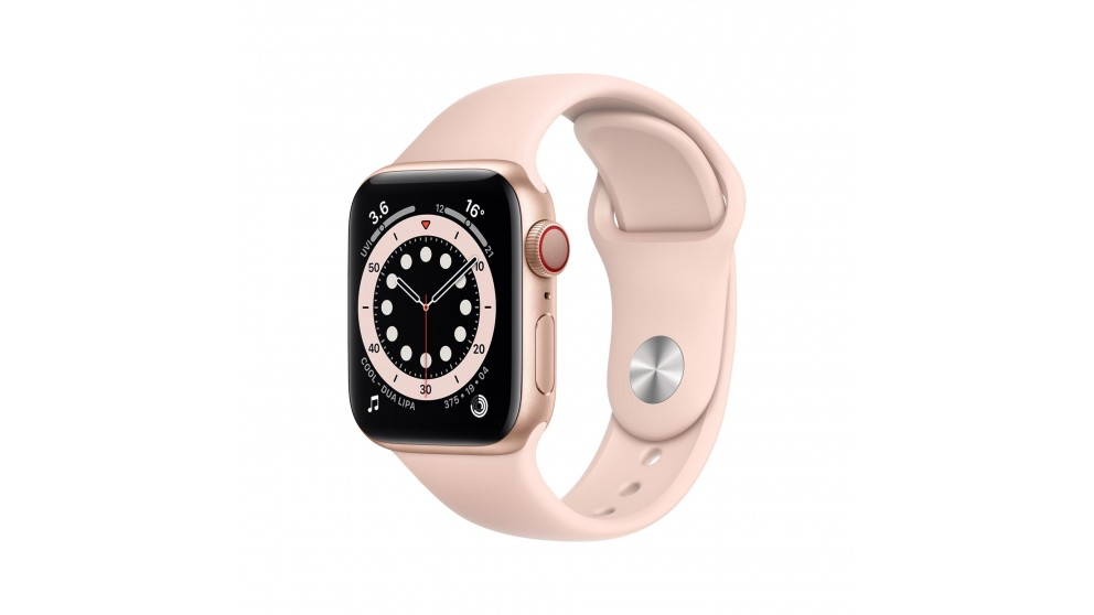 Apple Watch Series 6 40mm Gold Aluminium Case with Pink Sports Band - GPS + Cellular