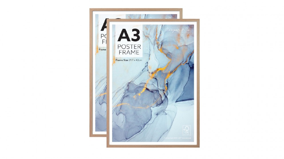 Cooper & Co. Set of 2 A3 Poster Photo Frames - Oak