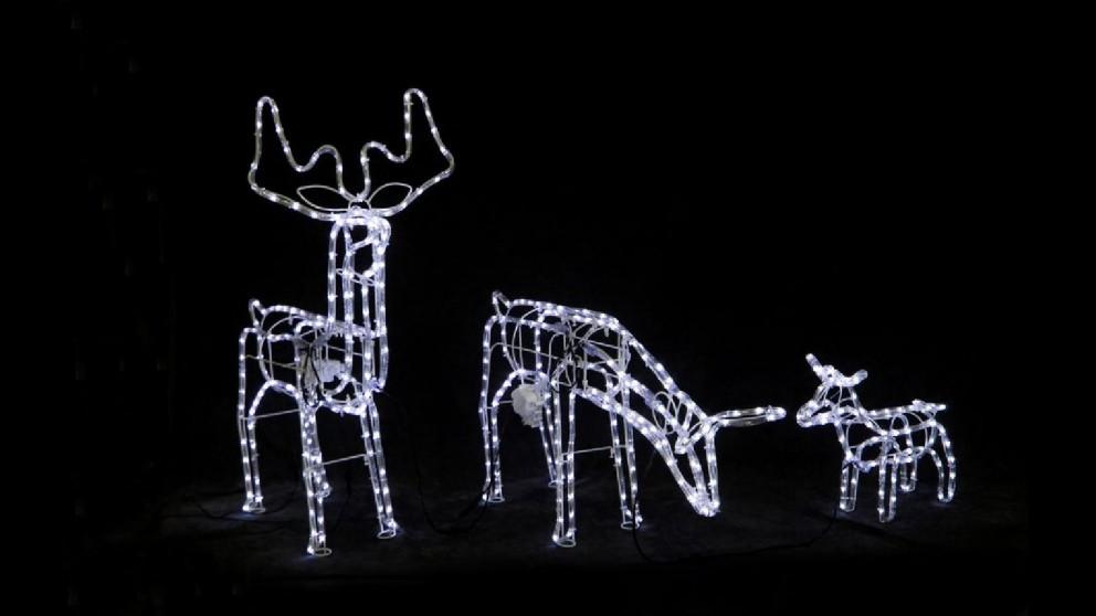 Lexi Lighting 3D Illuminated LED Reindeer Family with Motor - White