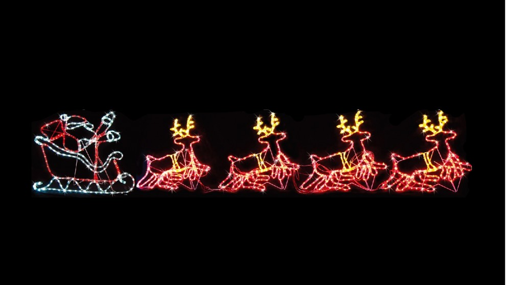 Lexi Lighting Four Moving Reindeer with Sleigh - 5.3 meters