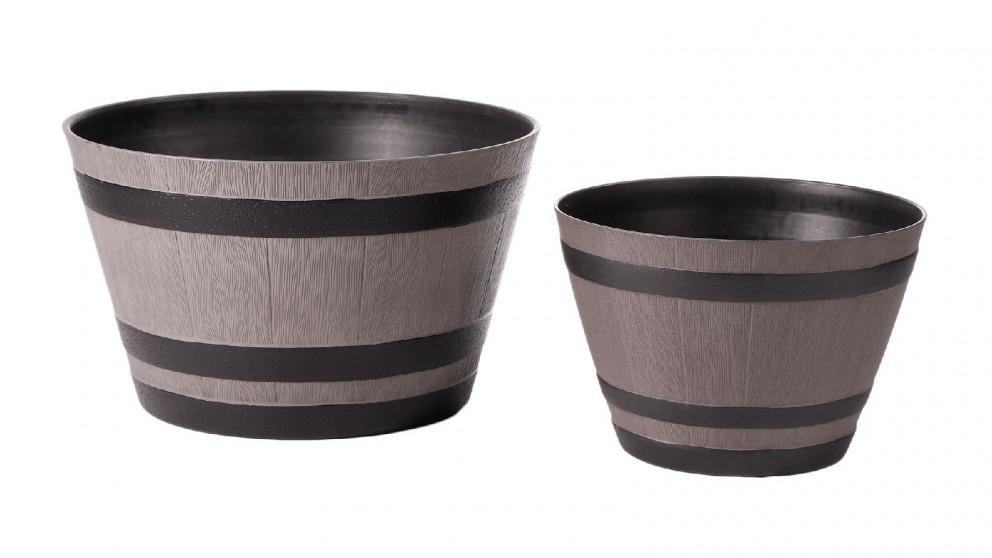 Cooper & Co. Set of 2 Half Barrel Grey Round Planter Pots - 52cm & 38cm