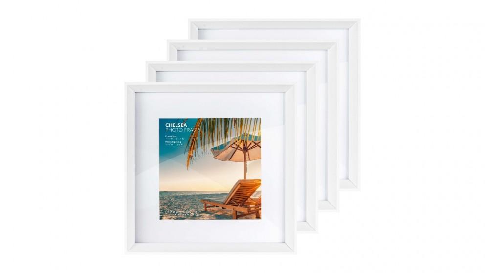 Cooper & Co. Premium 4 Pack Gallery Photo Frame Set 30x30cm Mat To 20x20cm - White