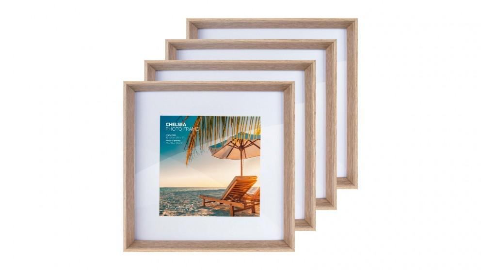Cooper & Co. Premium 4 Pack Gallery Photo Frame Set 30x30cm Mat To 20x20cm - Oak