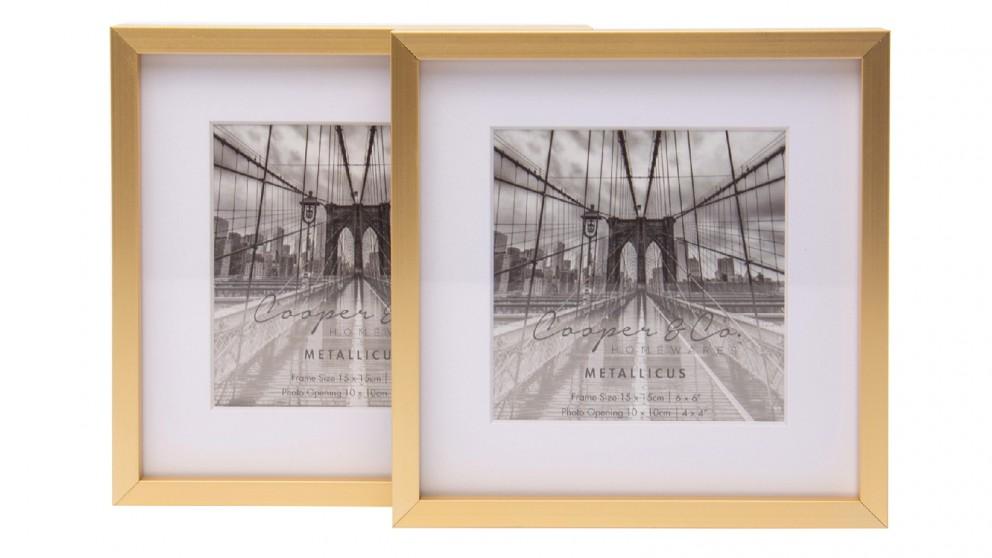 Cooper & Co. 6x6-inch Matt to 4X4-inch Gold Premium Metallicus Metal Photo Frames - Set of 2