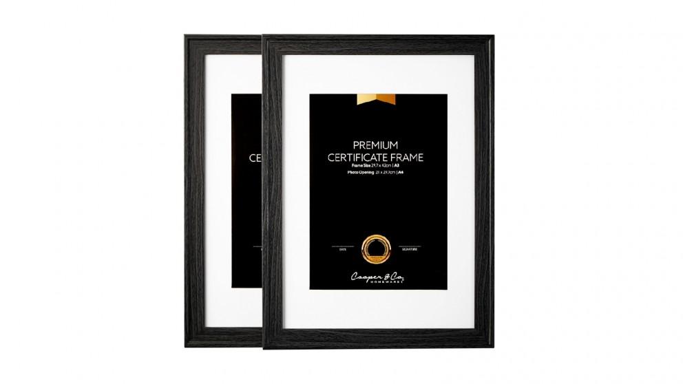 Cooper & Co. Set of 2 A3 Noose Certificate Frame - Black