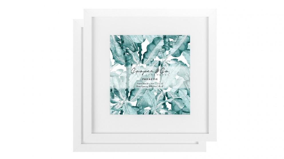 Cooper & Co. 30x30cm Mat to 20x20cm White Premium Paradise Wooden Photo Frame - Set of 2