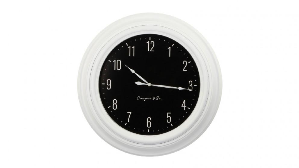 Cooper & Co. White & Black Jumbo Quartz Wall Clock - 60cm