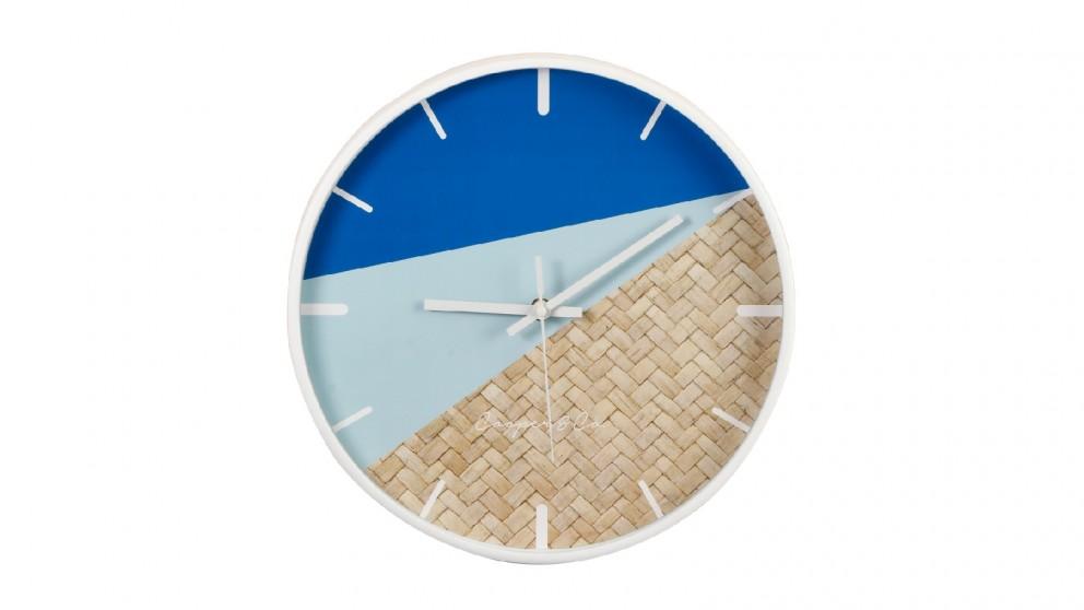 Cooper & Co. 30cm Cayman Silent Movement Round Wall Clock - Blue/Rattan