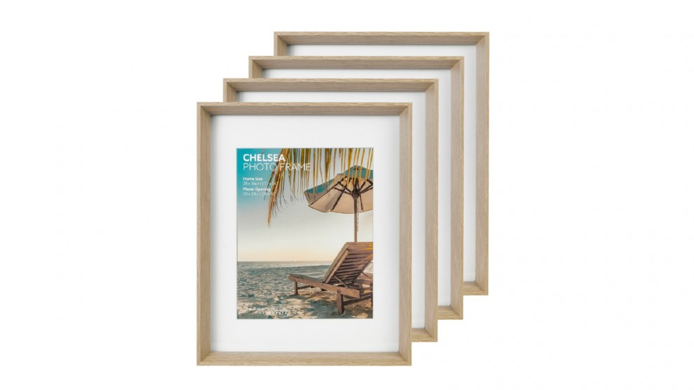 Cooper & Co. Premium 4 Pack Gallery Photo Frame Set 28x35cm Mat To 20x25cm - Oak