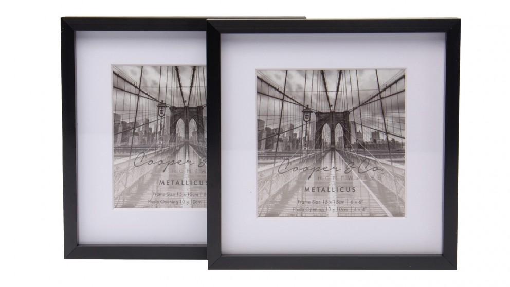Cooper & Co. 6x6-inch Matt to 4x4-inch Black Premium Metallicus Metal Photo Frames - Set of 2