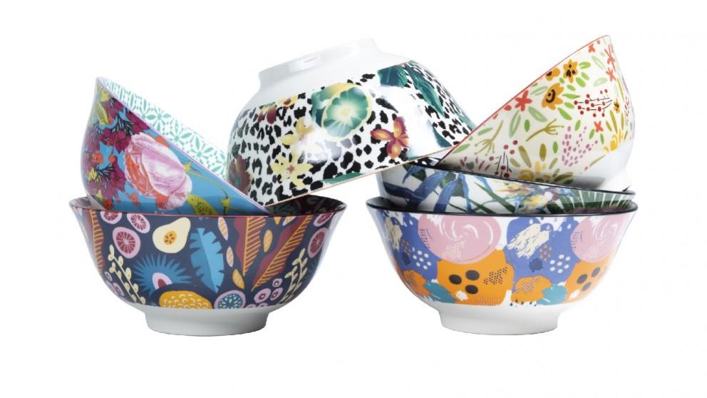 Cooper & Co. Floral Ceramic Bowls 15cm Large - Set of 6