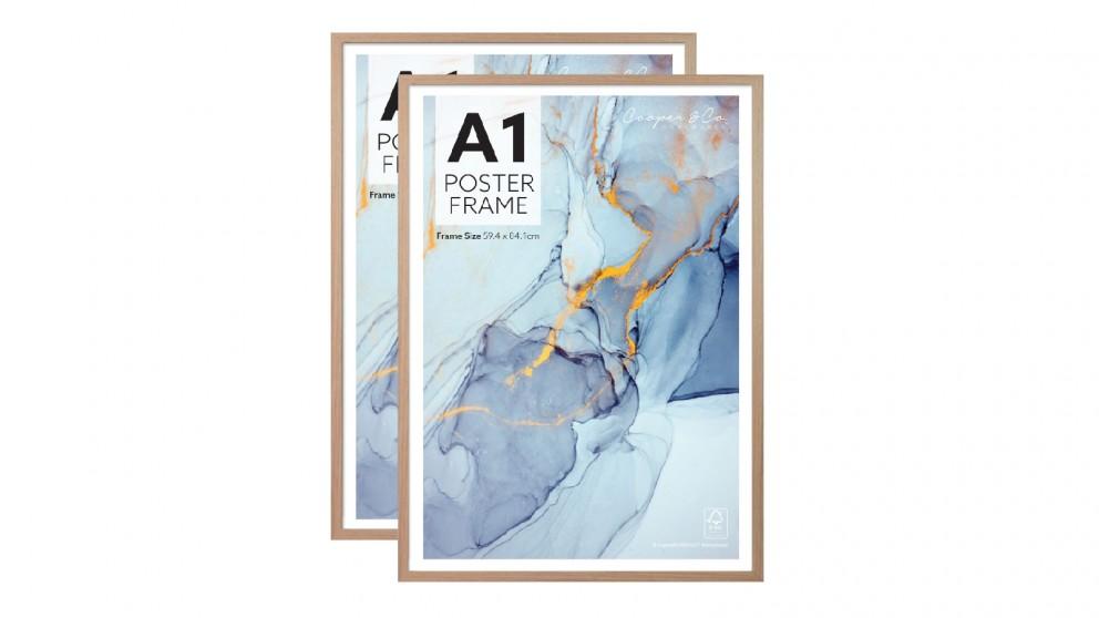 Cooper & Co. A1 Poster Photo Frames Set of 2 - Oak