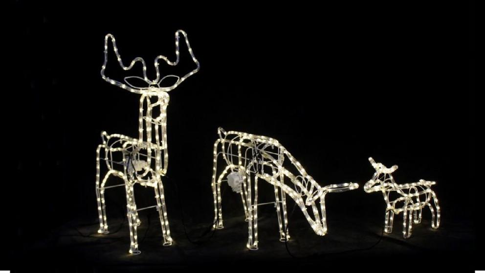 Lexi Lighting 3D Illuminated LED Reindeer Family with Motor - Warm White