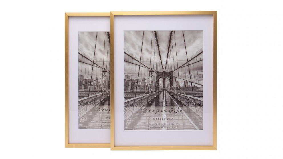 Cooper & Co. 10x1-inch Matt to 8x10-inch Gold Premium Metallicus Metal Photo Frames - Set of 2