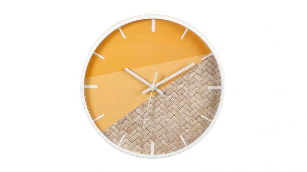 Cooper & Co. Orange/Rattan Cayman Silent Movement Round Wall Clock - 30cm