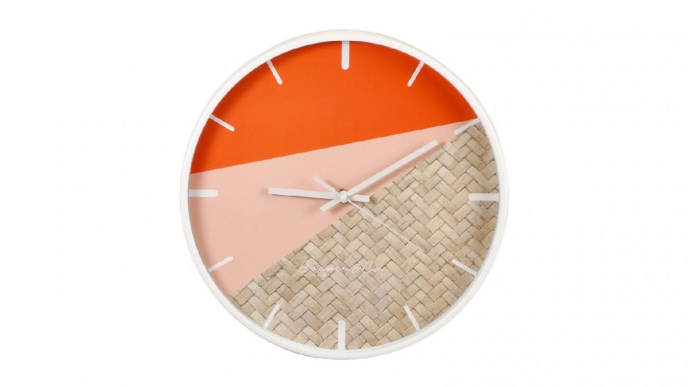 Cooper & Co. Watermelon/Rattan Cayman Silent Movement Round Wall Clock - 30cm