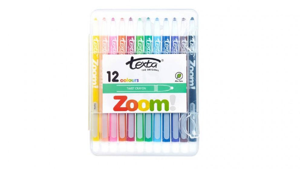 Texta 12-pieces Zoom Twist Crayons Hard Case