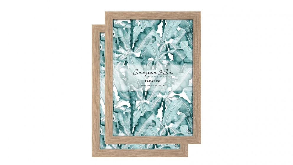 Cooper & Co. Set Of 2 Oak Premium Paradise Wooden Photo Frame - 21x29.7cm