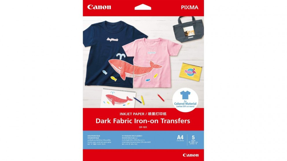 Canon 5-Pack A4 Dark Fabric Iron-On Transfers Inkjet Paper