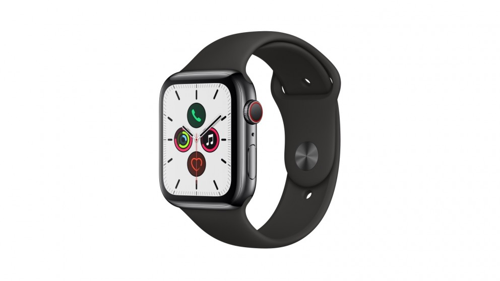 Apple Watch Series 5 44mm Space Black Stainless Steel Case with Black Sport Band - GPS + Cellular