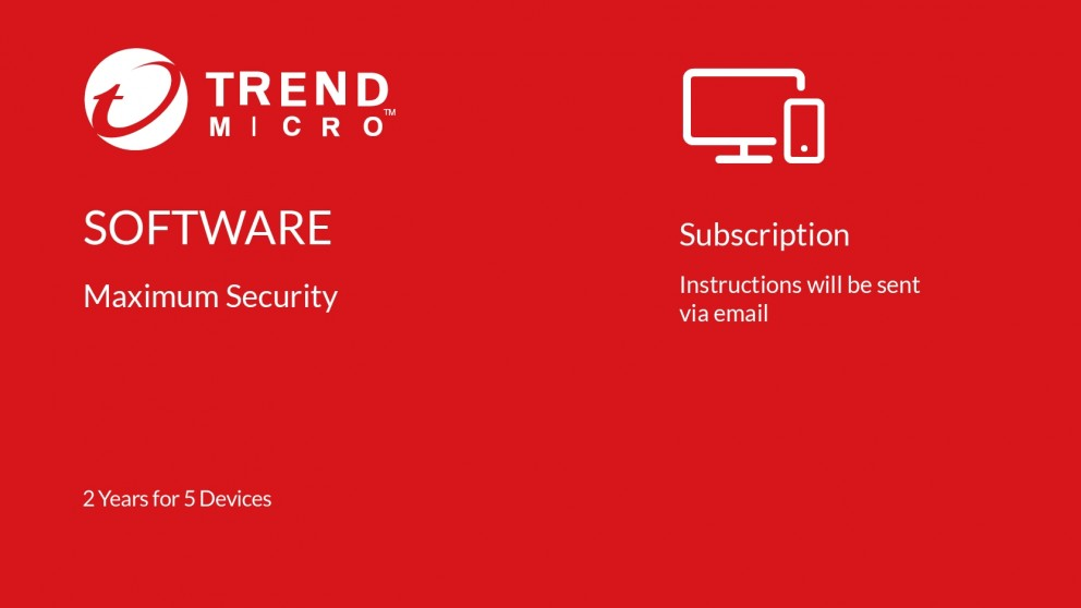 Trend Micro Maximum Security Digital Download - 2 Years for 5 Devices