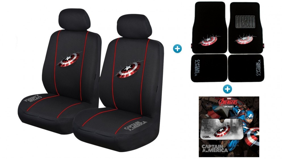 Avengers Captain America Pack - Seat Covers, Car Mats and Sunshade