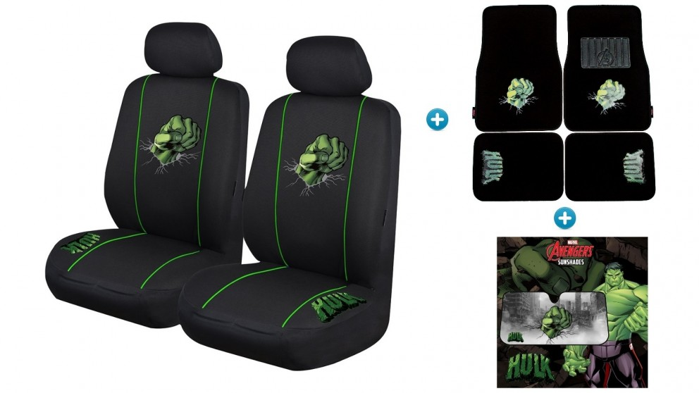 Avengers Hulk Pack - Seat Covers, Car Mats and Sunshade