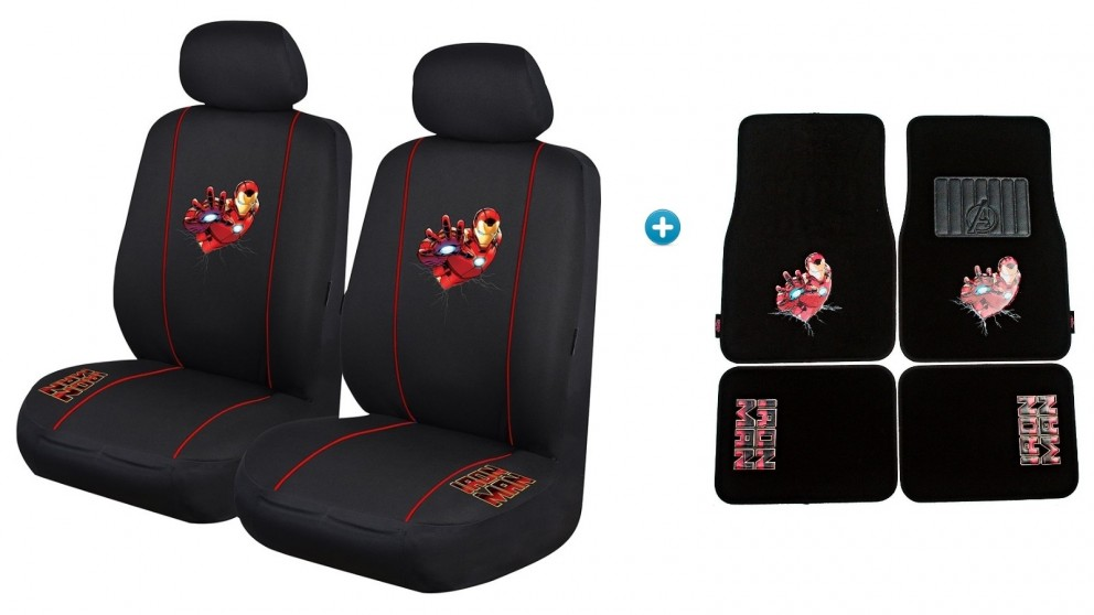 Avengers Iron Man Pack - Seat Covers and Car Mats