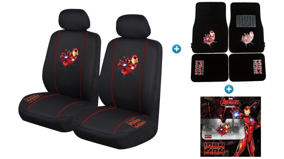 Avengers Iron Man Pack - Seat Covers, Car Mats and Sunshade