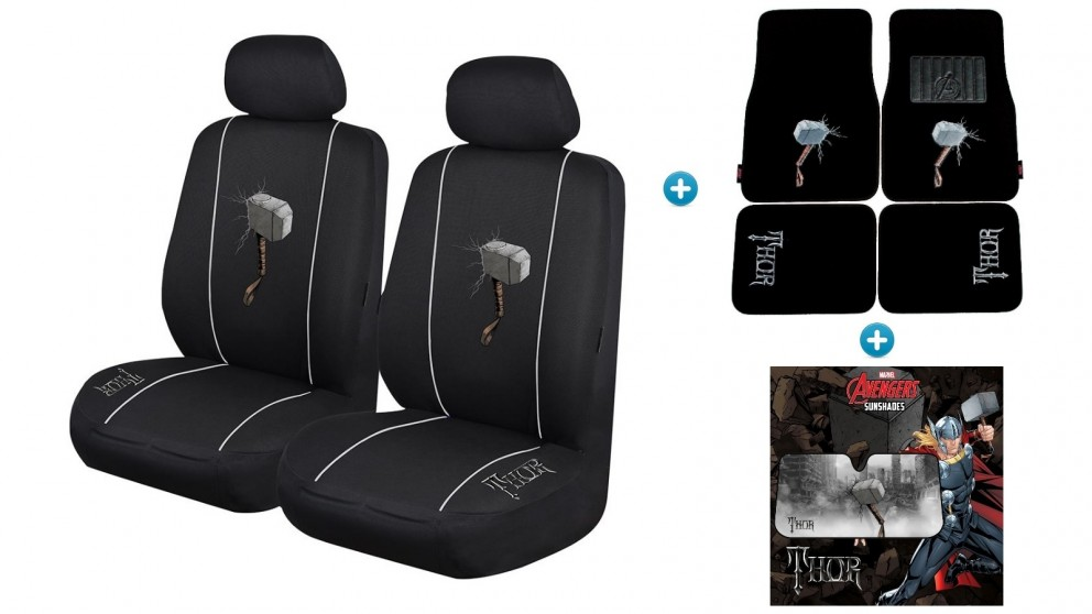 Avengers Thor Pack - Seat Covers, Car Mats and Sunshade